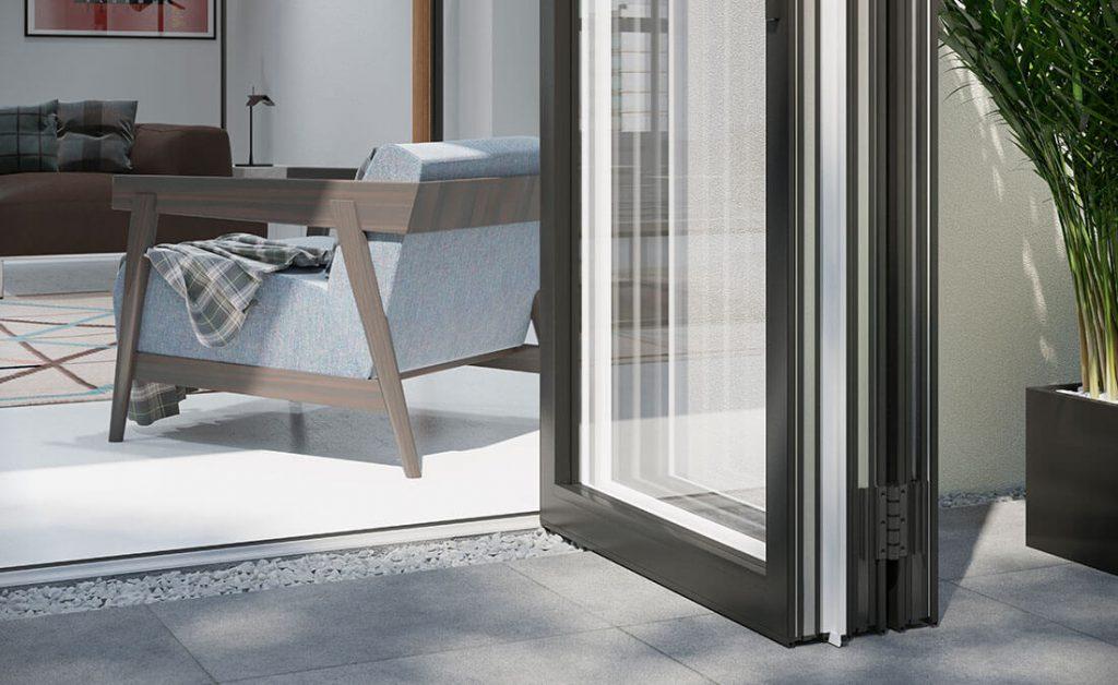 Aluminium bifold door close up