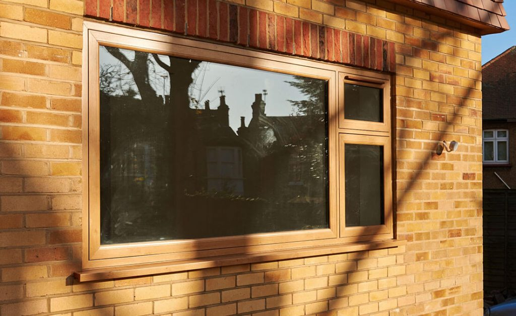 Oak effect flush sash windows