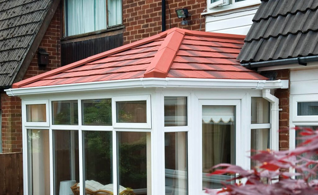 A red tiled conservatory roof