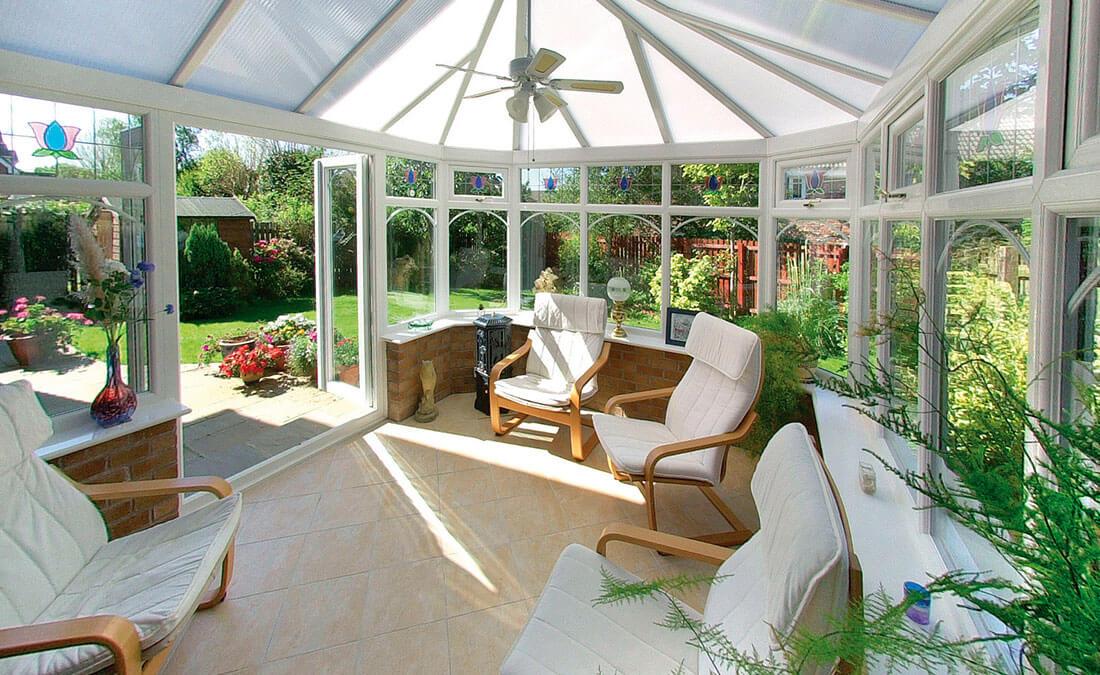 White uPVC Victorian conservatory interior view