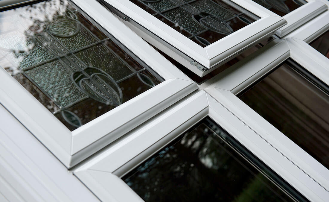 White uPVC casement window close up