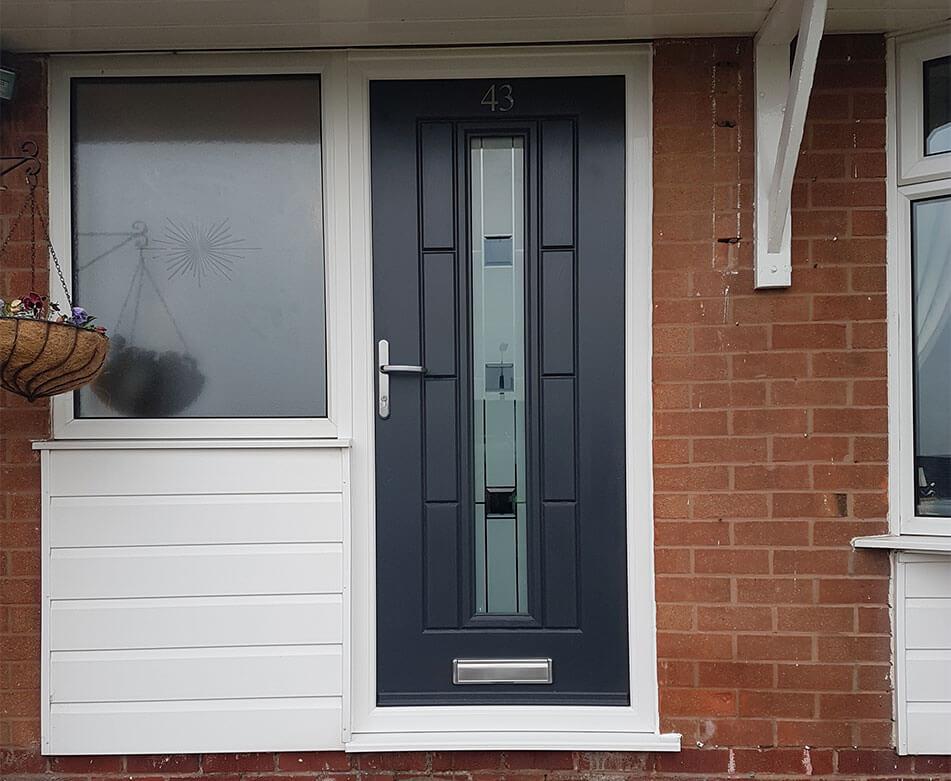 Modern grey composite door installation