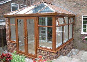 Golden oak effect uPVC conservatory