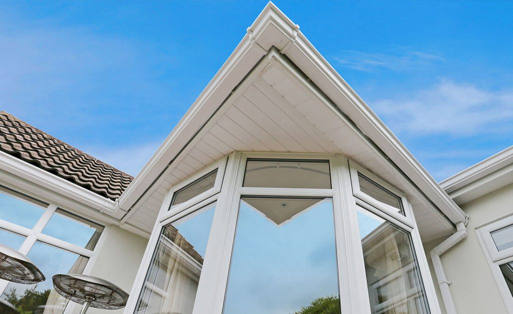 White uPVC roofline view from the bottom