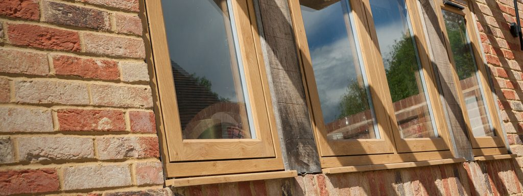 Residence oak finish window close up