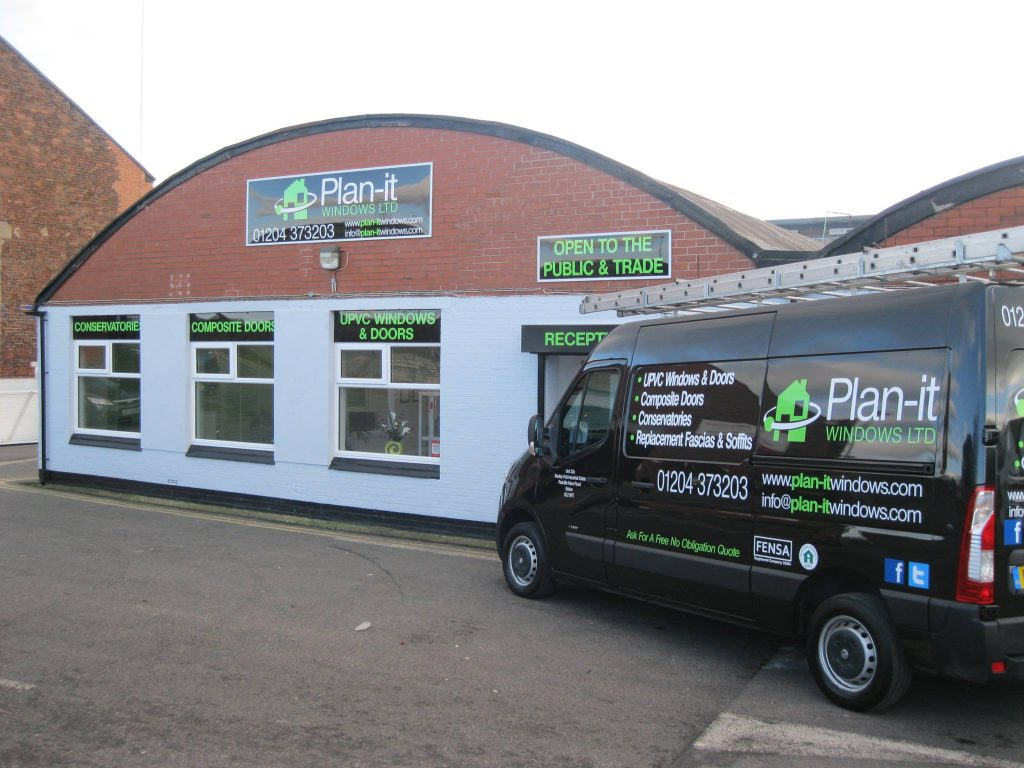 Outside the Plan-it showroom in Bolton.